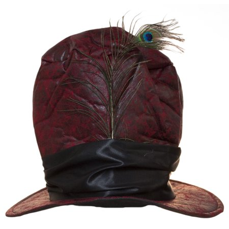 Red Distressed Faux Leather Tall Hat with Peacock Feather