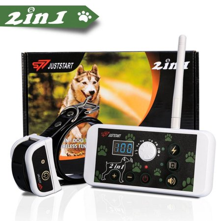 WALFRONT 270 Yard Wireless Electric Dog Fence Containment System 2 In 1 Pet Fence System & Dog Training Collar Waterproof & Rechargeable For All Size Dogs,Wireless Electric Dog -
