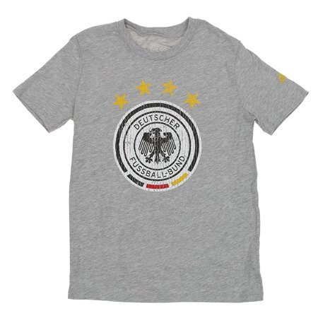 Adidas DFB Soccer Youth Distressed Graphics Short Sleeve T-Shirt, Heathered Grey Adidas Spain Youth Home Jersey