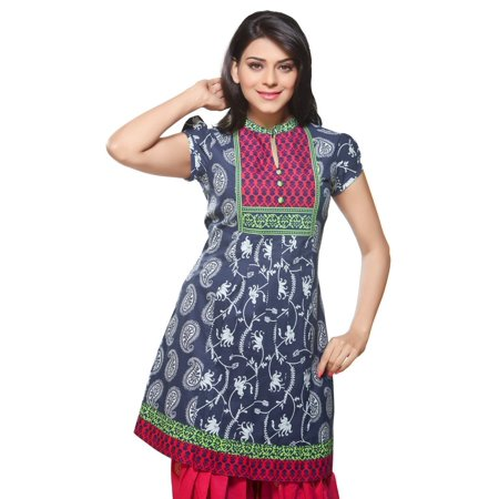 Contrast Yoke (In-Sattva Women's Short Kurta Tunic - Allover Print & Contrast Neck)