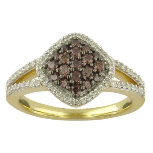 Divina  10k Yellow Gold 5/8ct TDW Champagne and White Diamond Ring