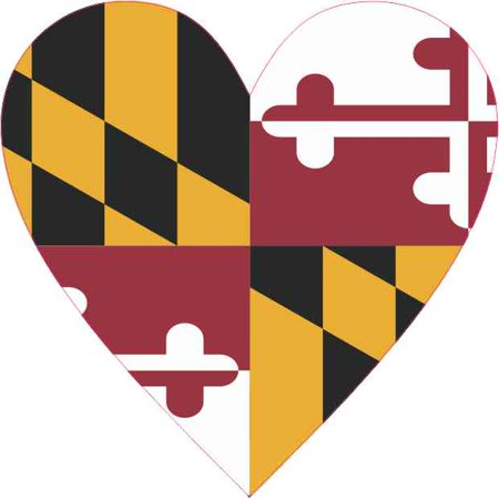 State Flag Bumper Sticker - 4in x 4in Maryland Heart Sticker Vinyl State Flag Vehicle Bumper Stickers