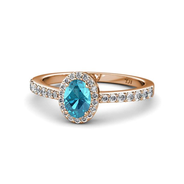 Oval 7x5mm London Blue Topaz & Diamond Halo Engagement Ring 1.38 Carat tw in 14K Rose Gold.size 8.75