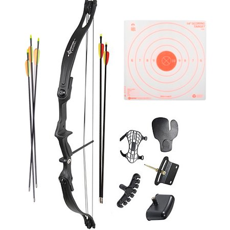 Crosman Archery Elkhorn Compound Bow Kit, 5ct Arrows plus 3pk Visible Impact