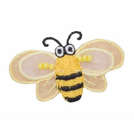 Large Layered Yellow Bumble Bee - 3-D Wings - Iron on Applique/Embroidered Patch (Bee Wings)