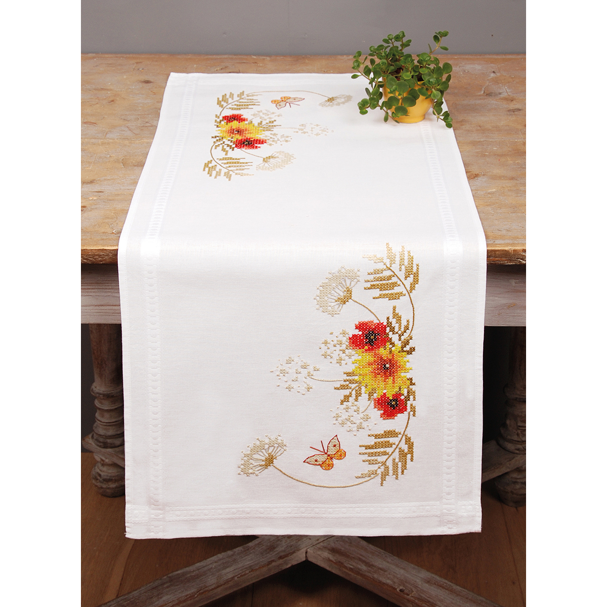 """Vervaco Counted Cross Stitch Kit 10.5""""X33.5""""-Sunflowers & Poppies On Aida (14 Count)"""