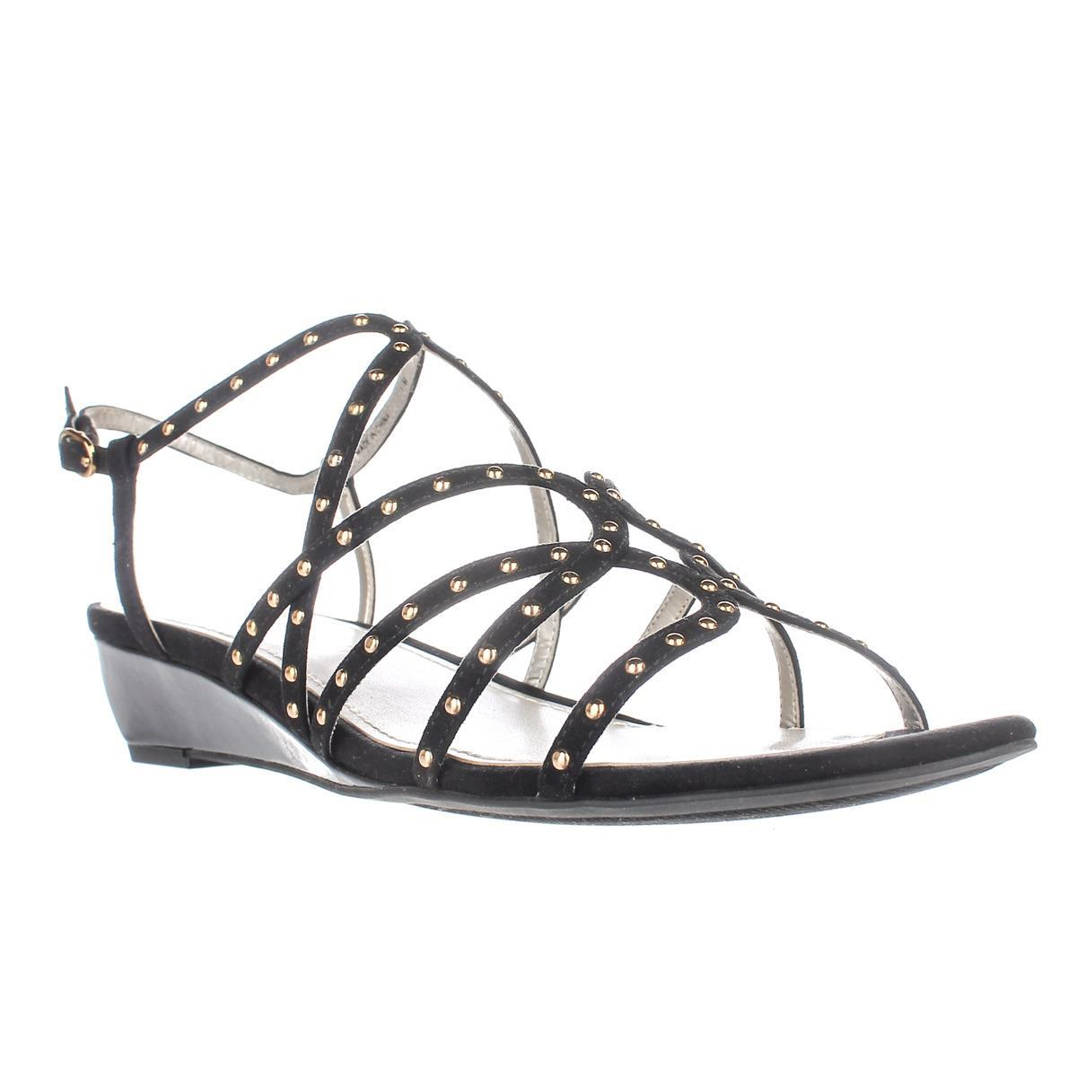 Womens Anne Klein Mallory Studded Wedge Sandals, Black