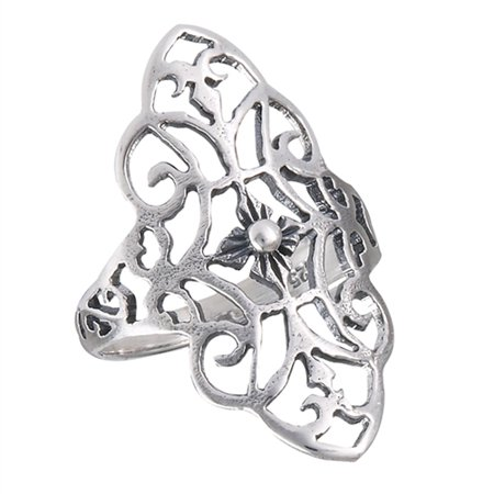 - Wide Filigree Scroll Cutout Flower Ring ( Sizes 6 7 8 9 10 ) New .925 Sterling Silver Band Rings by Sac Silver (Size 7)