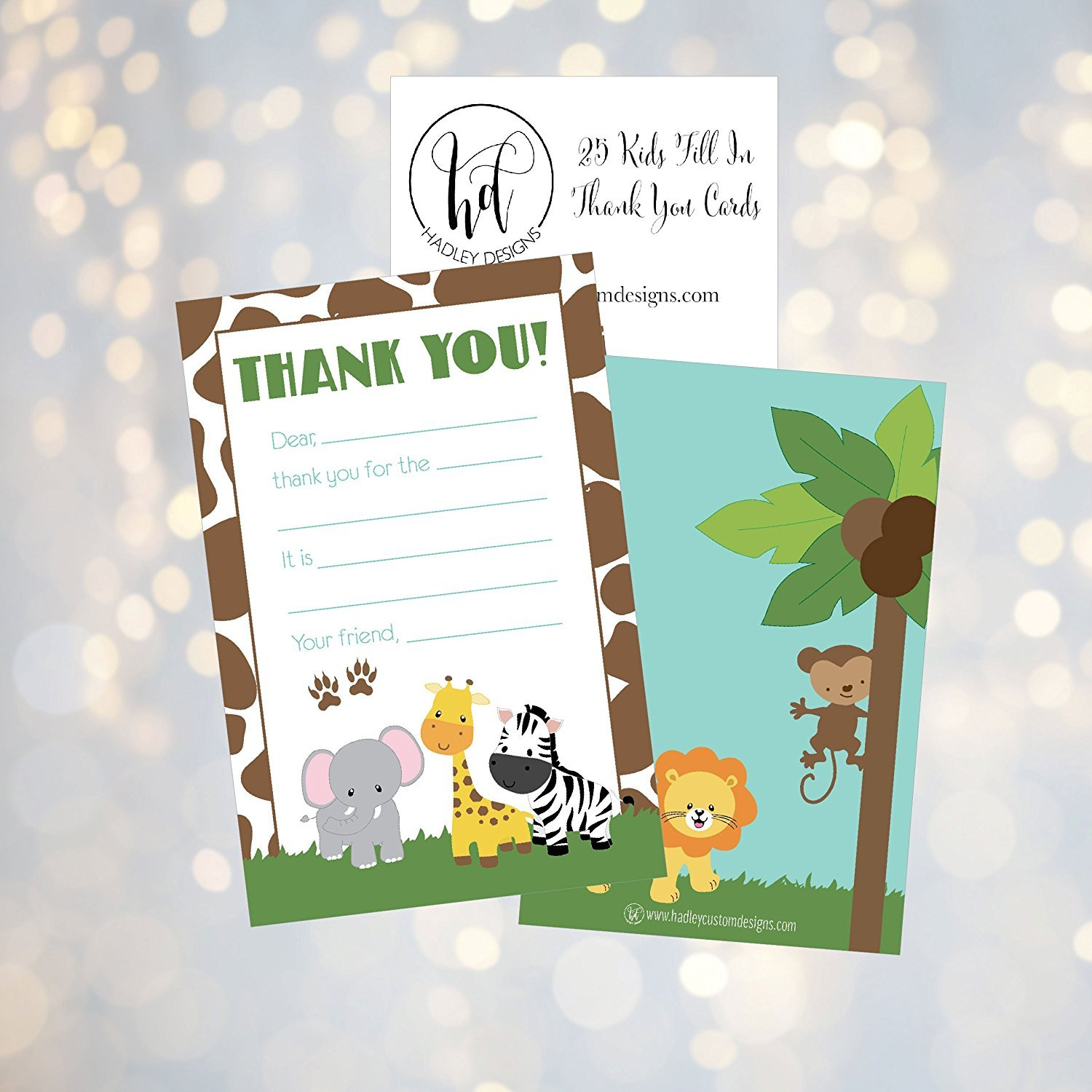 25 Jungle Kids Thank You Cards Fill In Notes For Kid Blank Personalized Yous Birthday Gifts Stationery Children Boys And Girls