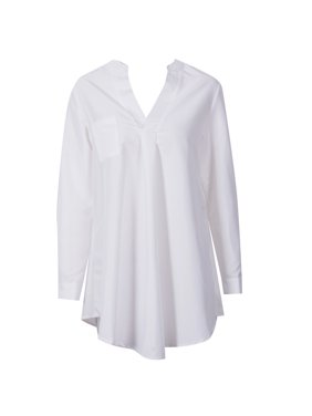 Women V-neck Pockets Solid Asymmetrical Shirt Casual Long Sleeve Tops Shirt Ladies Loose Blouse White S
