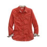 Tin Haul Western Shirt Women L/S Solid Snap Orange 10-050-0060-0403 OR