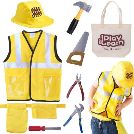 4 Year Old Halloween Crafts (iPlay, iLearn Construction Worker Costume Role Play Kit Set, Engineering Dress Up Gift Educational Toy for Halloween Activities Holidays Christmas for 3, 4, 5, 6, 7 Year Old Kids)