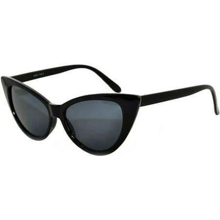 Retro Women's Cat Eye Vintage Sunglasses UV Protection Black Frame Smoke Lens Brand OWL