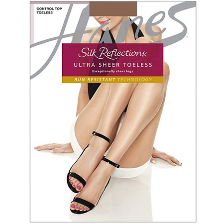 7623e8d3d6f1c Hanes - Hanes Silk Reflections Ultra Sheer Control Top Toeless Pantyhose  with Run Resistant Technology 3-pack - Walmart.com