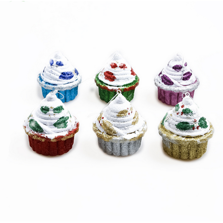 Iced Christmas Cake (Christmas Decorations Party Decor Foam Cup Cakes Ice Creams Colorful Bubble Candy House Pendant Christmas Tree Pendant 6pcs(cup cakes))