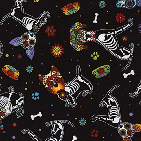 Day of the Dead Dogs black Timeless Treasures fabric, Sold by the yard. By DOG for DOG
