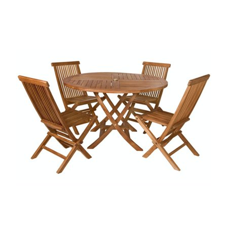 All Things Cedar Teak 5-pc. Round Folding Patio Dining Set ()