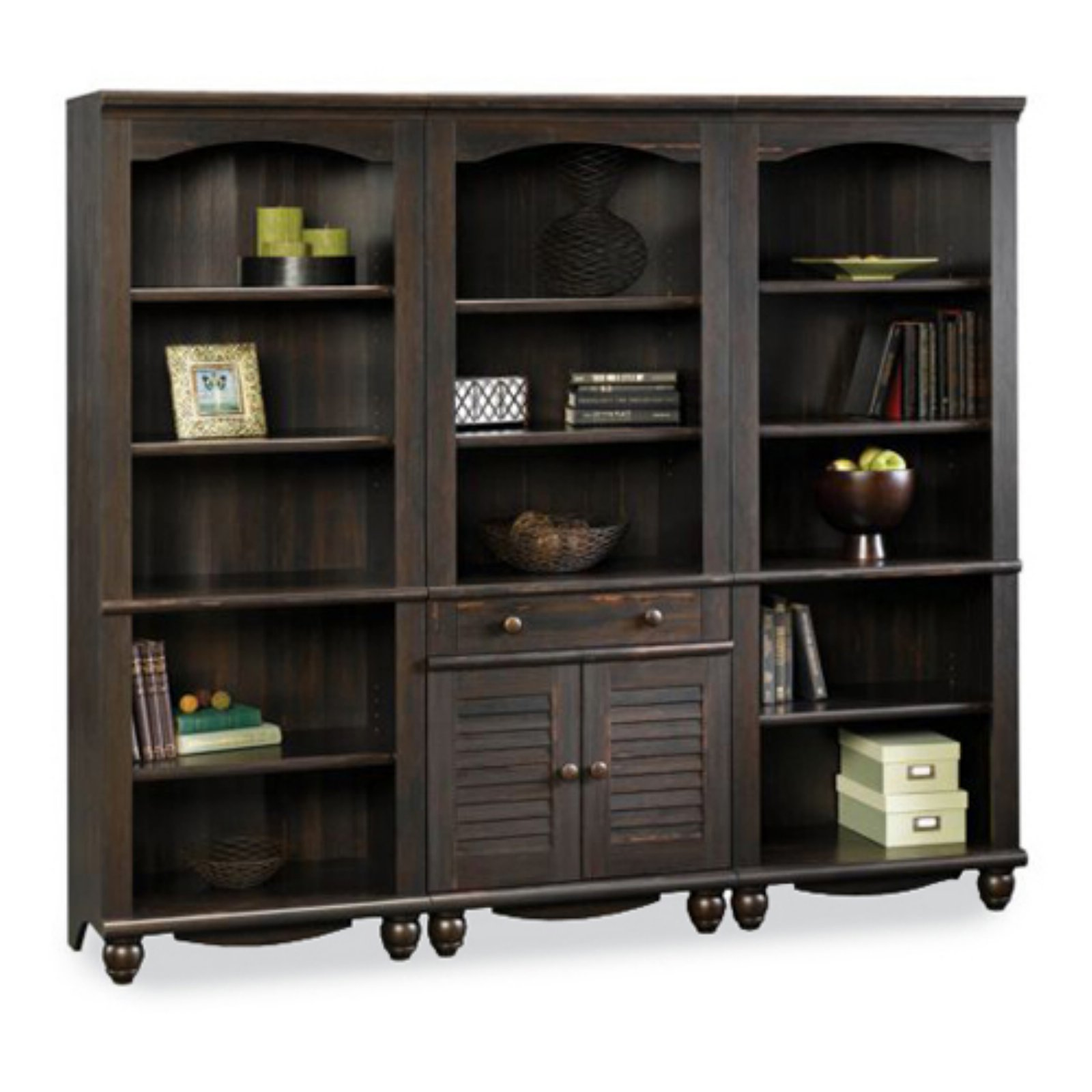 Sauder Harbor View Bookcase Wall Antique Black Walmart Com