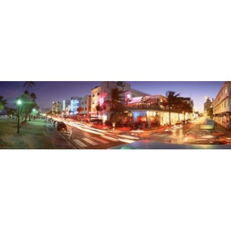 Miami Hurricanes Puzzle (Traffic On A Road Ocean Drive Miami Florida USA Stretched Canvas - Panoramic Images (15 x 5) )