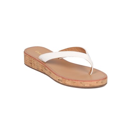 New Women Qupid Flip-01 Patent Leatherette Cork Low Wedge Thong Sandal