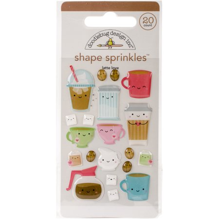 Doodlebug Sprinkles Adhesive Glossy Enamel Shapes Cream & Sugar Latte Love