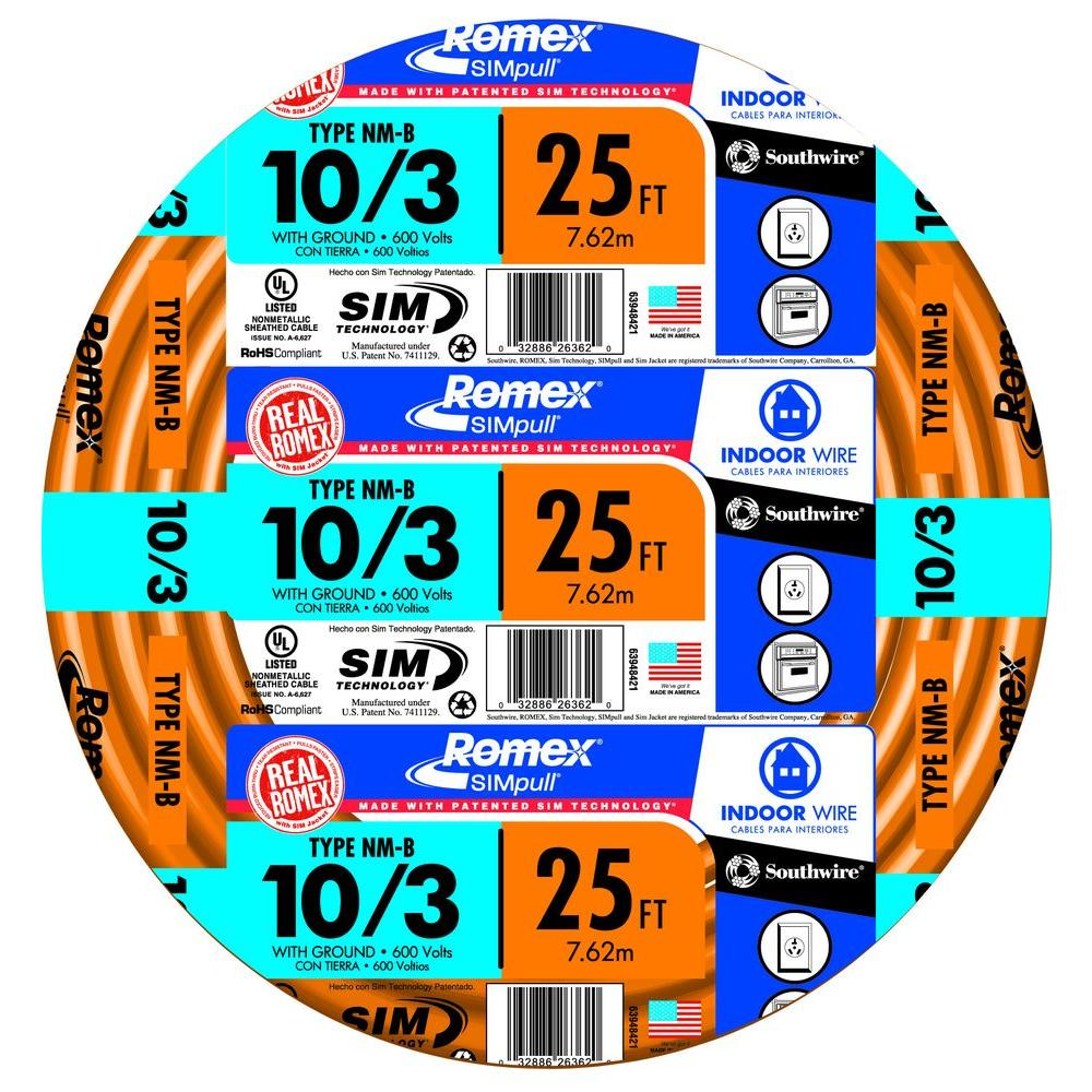 Southwire 63948421 25' 10/3 with ground Romex brand SIMpull residential indoor electrical wire type NM-B Orange