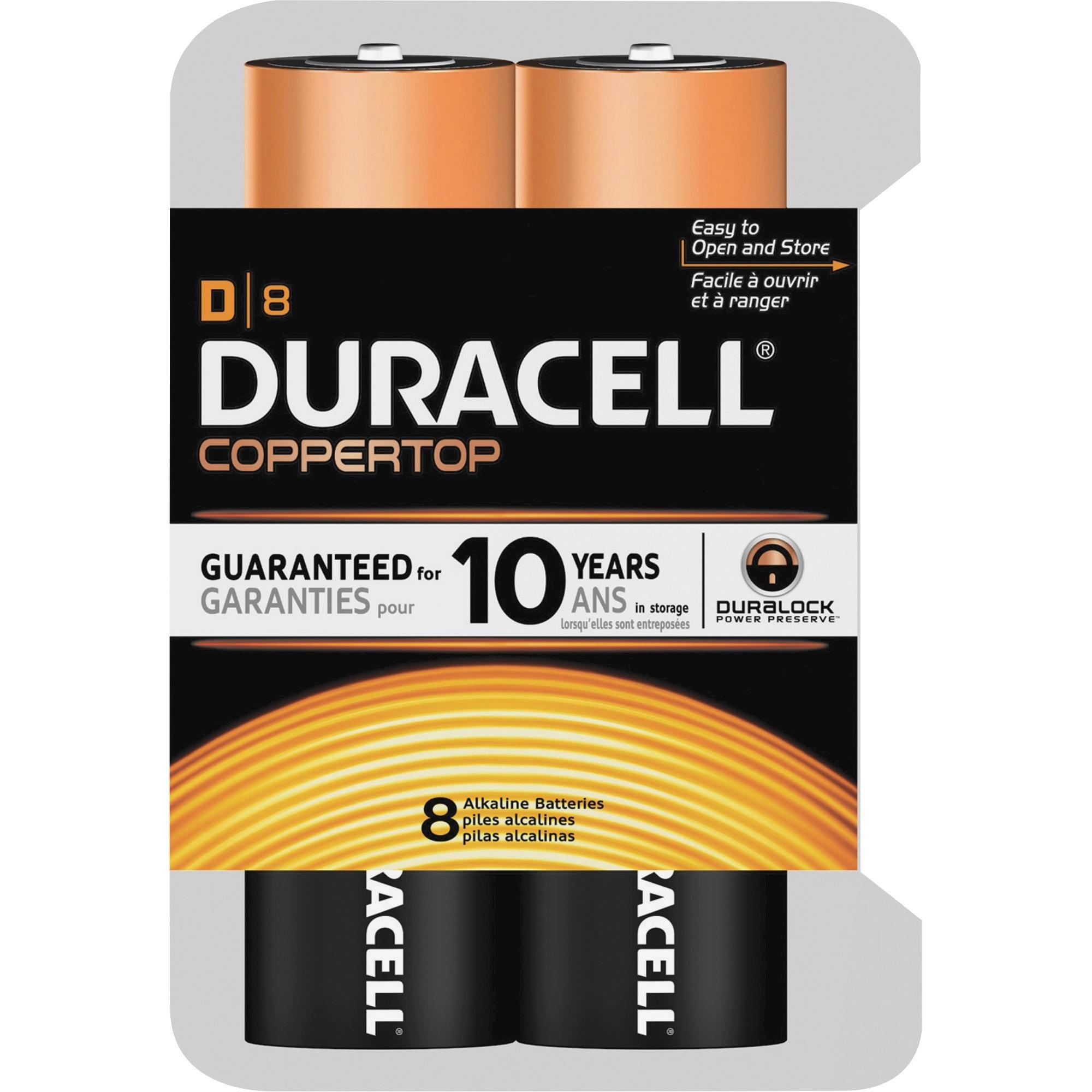 Duracell Coppertop Alkaline D Batteries, 8 Count