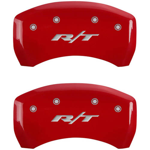 RT1-Truck Silver Characters, Engraved MGP Caliper Covers 12001SRT1RD Red Powder Coat Finish Front and Rear Caliper Cover Set of 4