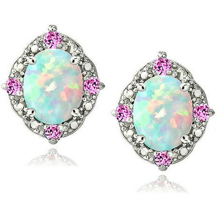 - 2.86 Carat T.G.W. Created Opal and Pink Sapphire Diamond Accent Sterling Silver Oval Earrings