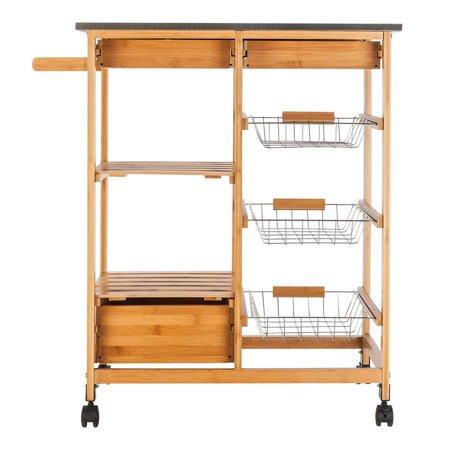 Ktaxon Rolling Wood Kitchen Trolley Island Utility Storage Cart With Drawers Baskets On Wheels