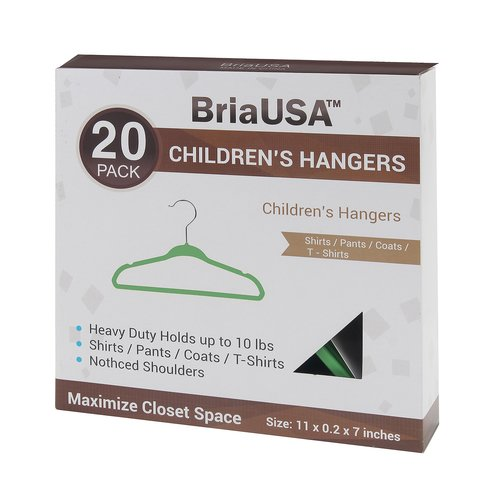 BriaUSA Kid's Steel Hook Hanger (Set of 20)