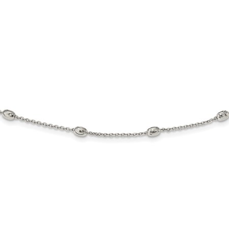 18 Adjustable Link (0.8mm Sterling Silver Sparkle-Cut Beaded Necklace - Length: 18 to 36 )