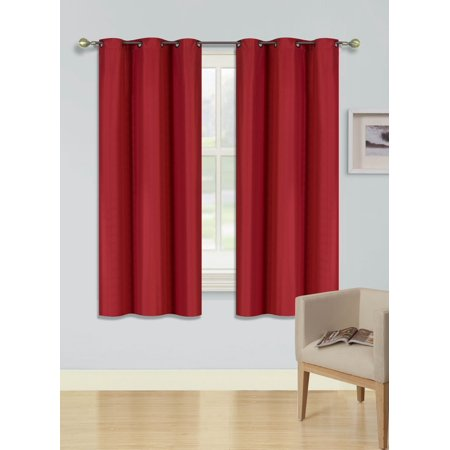 (SSS) 2-PC Red Solid Blackout Room Darkening Panel Curtain Set, Two (2) Window Treatments of 37