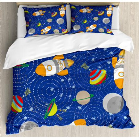 Kids King Size Bedding.Kids Boys King Size Duvet Cover Set Outer Space Themed Moon Spaceship And Ufo Pattern On Bullseye Circles Backdrop Decorative 3 Piece Bedding Set