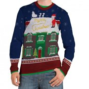 Faux Real Mens Peeing Santa Ugly Christmas Sweater Long Sleeve T-Shirt (Peeing Santa, Medium)