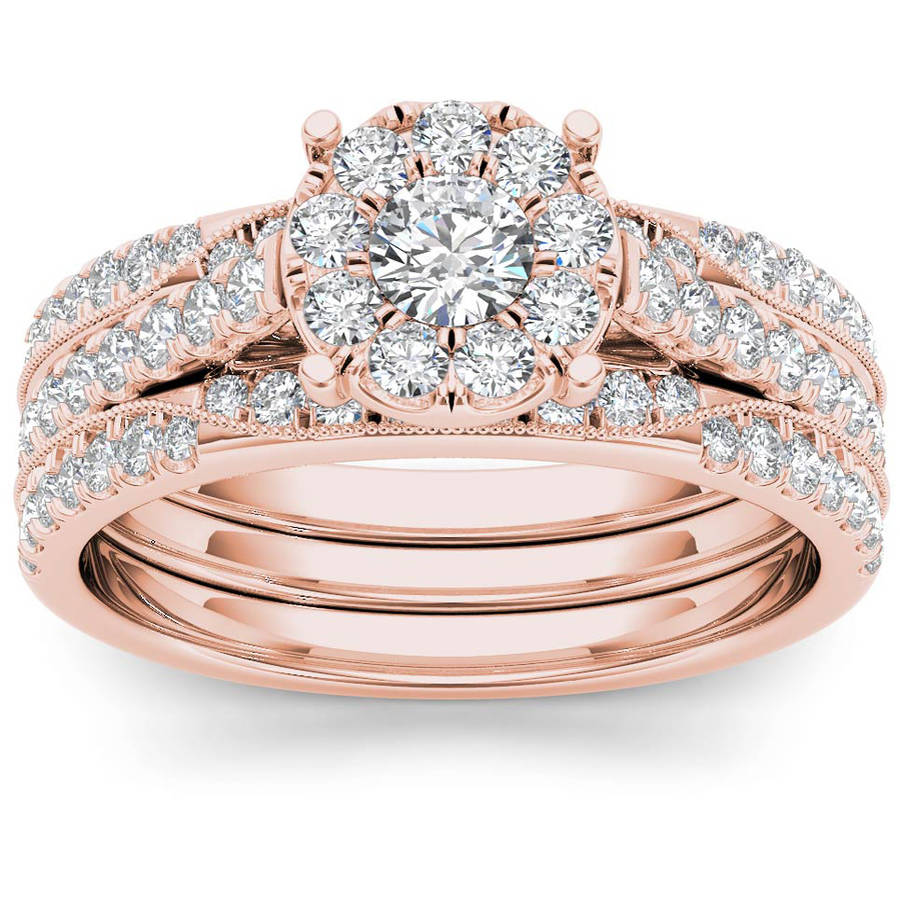 Imperial 1 Carat T.W. Diamond Single Halo 14kt Rose Gold Engagement Ring Set by Imperial Jewels