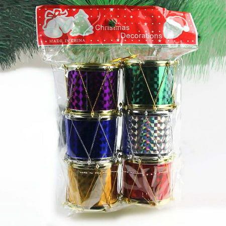 AkoaDa Colorful Glitter Mini Drum Christmas Tree Ornaments, Christmas Mini Drums Xmas Tree Hanging Decoration Pendant Christmas Holiday Wedding Party Decor Musical Instrument Christmas Ornaments ()