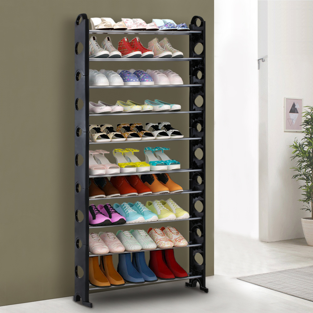 iKayaa Portable 10 Tier Standing Shoe Rack Organizer Tower Stackable Shoes Storage Shelf Cabinet