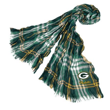 Little Earth - NFL Crinkle Plaid Scarf, Green Bay Packers (Green Bay Packers Silk Scarf)