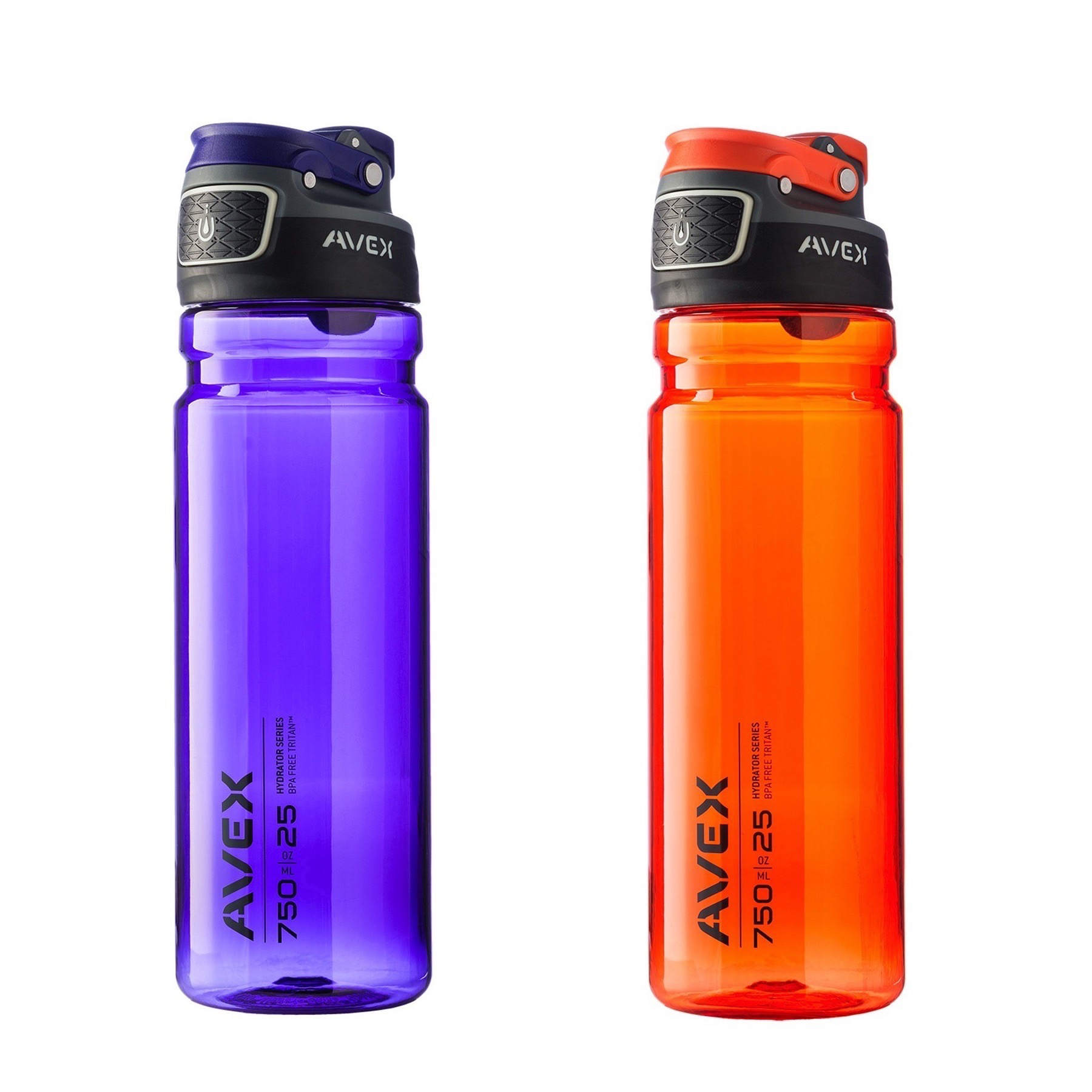 Avex FreeFlow Autoseal 25oz Plastic Water Bottle Combo Kit Purple & Burnt Orange