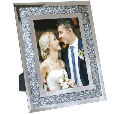Decorative Picture Frame 5x7 Photo Holder Mirror with Sparkling Crystal Boarder - EGP-HD-0128