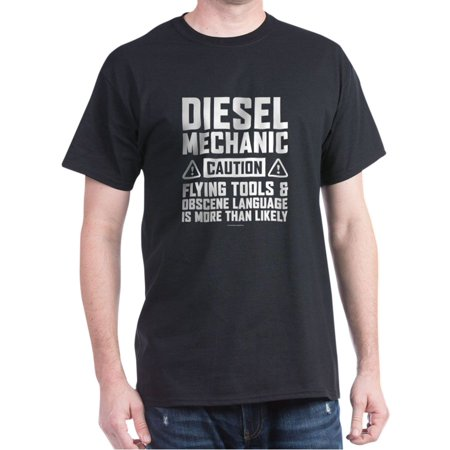 CafePress - Diesel Mechanic Caution T-Shirt - 100% Cotton (Live Mechanics Clothes)