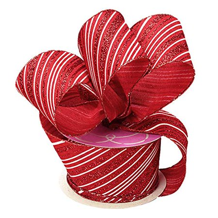 Red And White Leis (Candy Cane Wired Christmas Ribbon - 2 1/2
