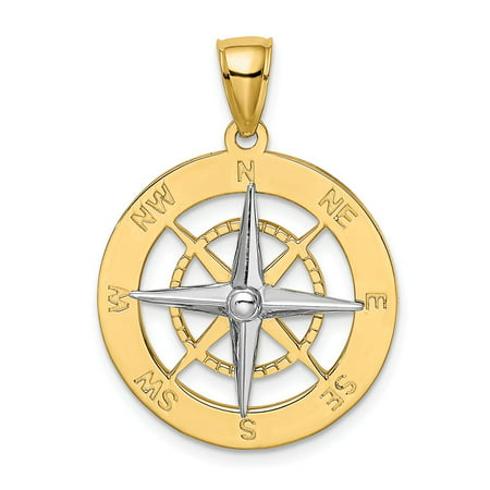 Roy Rose Jewelry 14K Two-tone Gold Nautical Compass White Needle Charm Pendant