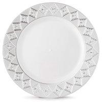 """Host & Porter Silver Rim Plastic Dinner Plates, 10.25"""", 10 Count"""