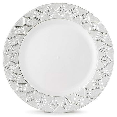 Host & Porter Silver Rim Plastic Dinner Plates, 10.25
