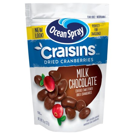 (3 Pack) Ocean Spray Craisins Milk Chocolate Dried Cranberries, 8 oz Candy Chocolate Dried Fruit