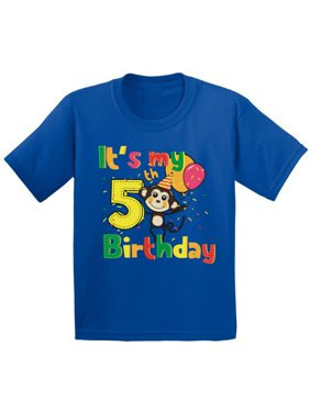Product Image Awkward Styles Monkey Birthday Shirt For Kids Party 5th Its My