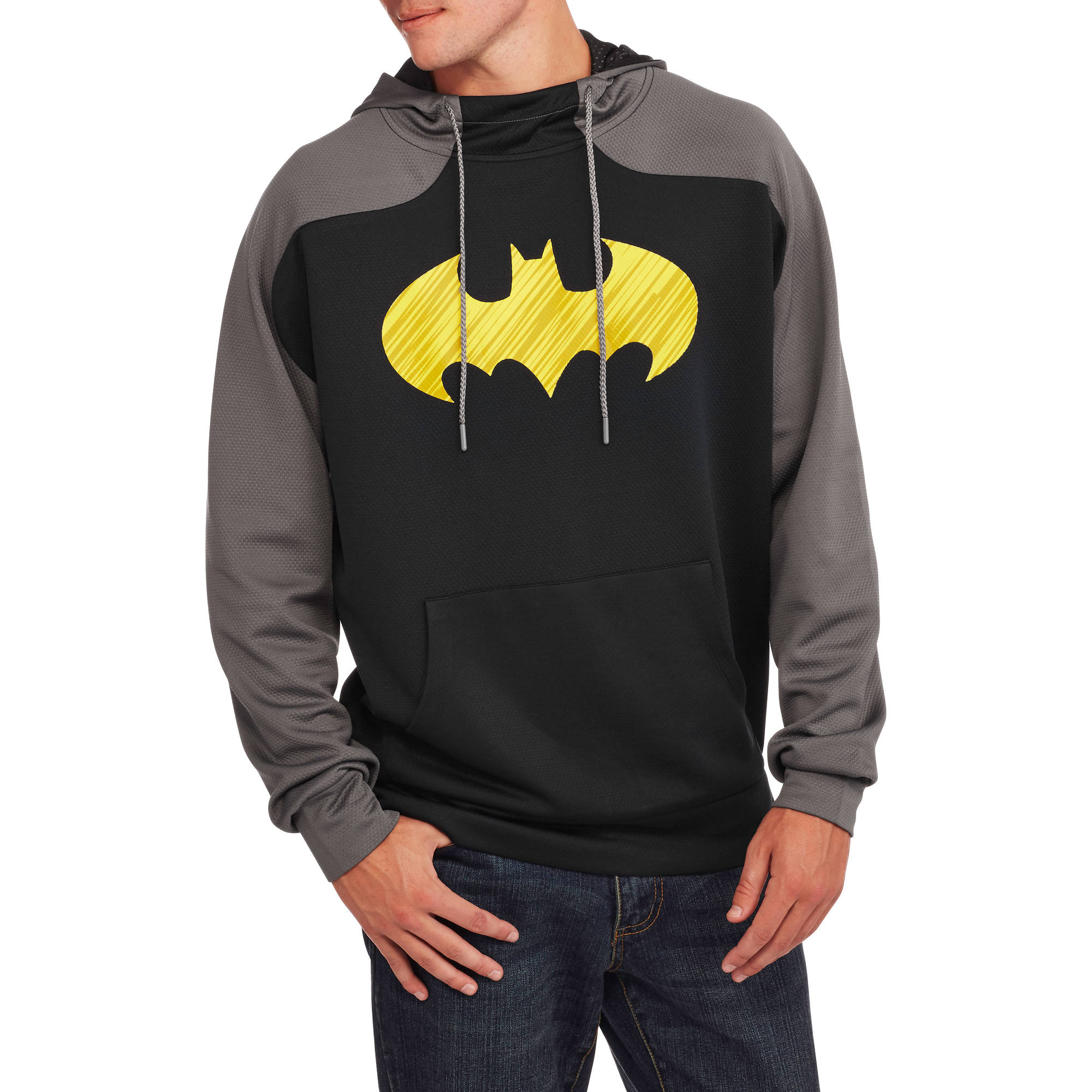 Batman Big Men's Poly Waffle Thermafit Fleece Hoodie, 2XL by