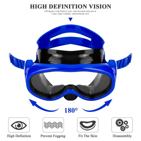 Anyprize Swim Mask and Snorkel for Kids, Blue Dry Snorkel Scuba Diving Mask for Child, Anti Fog Lens And Soft Silicone Strap Waterproof Swim Goggles Set for Age 10+ with Enviromental PVC (Best Scuba Goggles 2019)